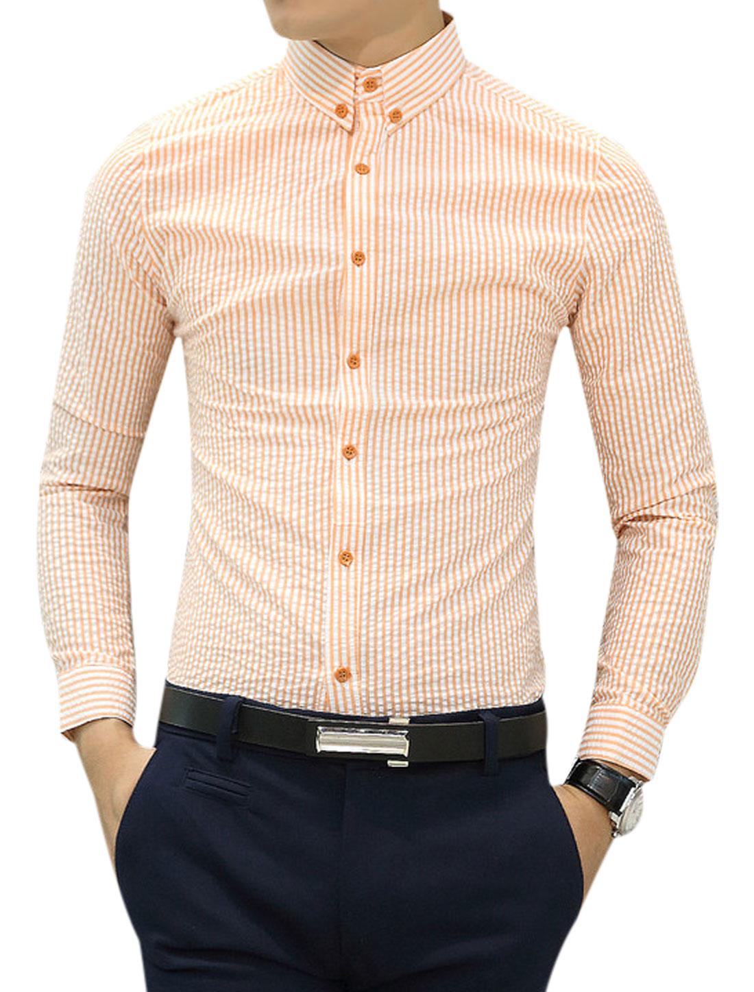 Stripes Long Sleeves Stylish Orange White Casual Shirt for Man S