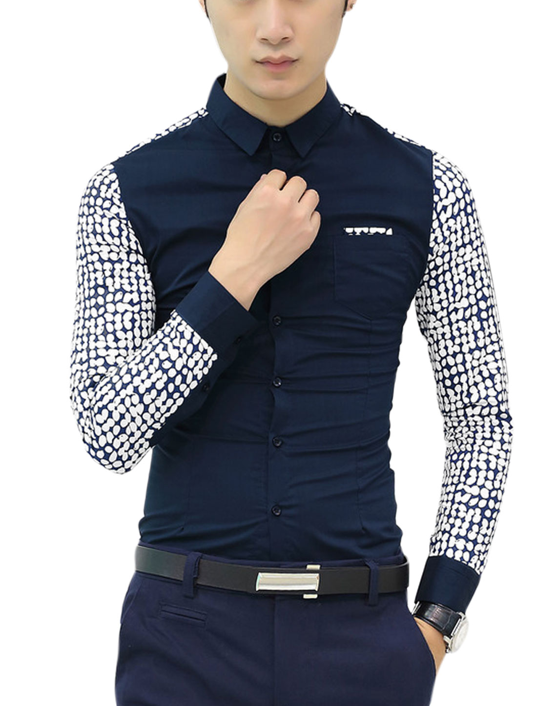 Men Clover Prints Long Sleeve Button Down Casual Shirts Navy Blue S