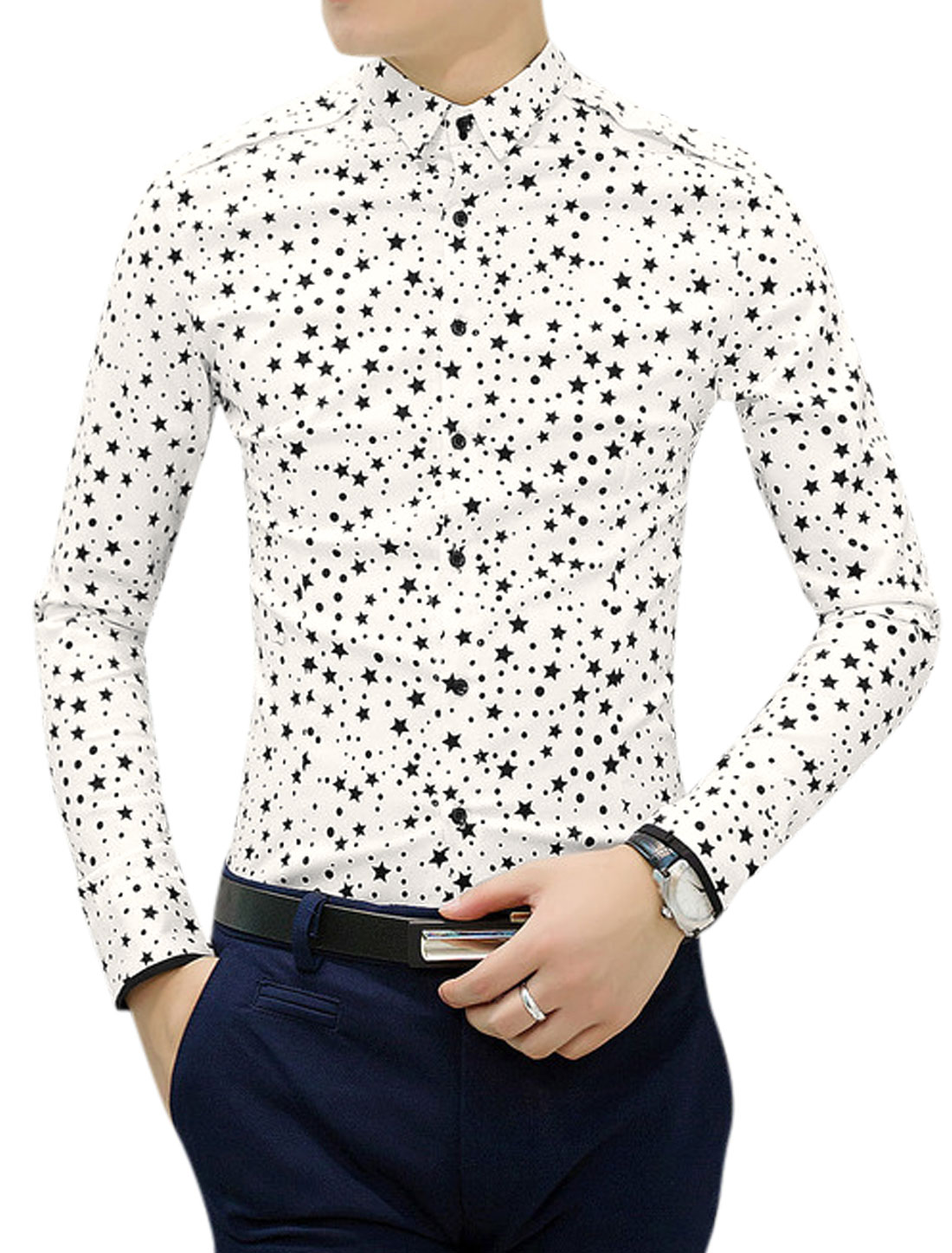 Men Stars Pttern Panel Design Button Down Shirt White S