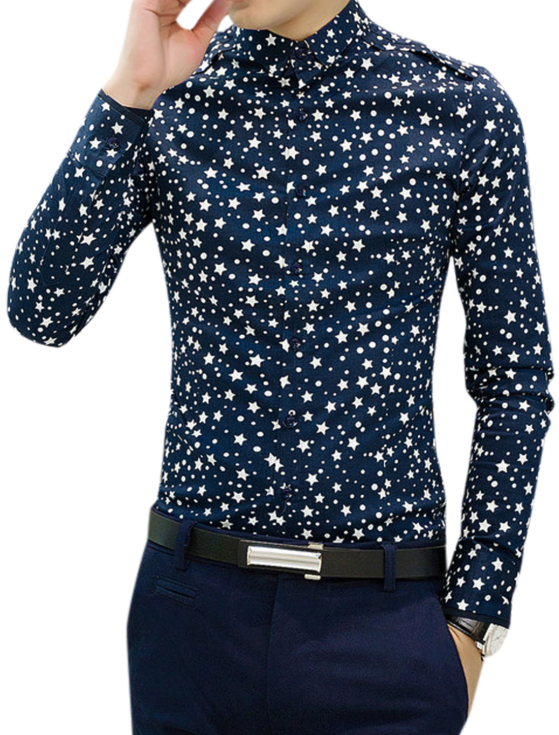 Man Long Sleeves Point Collar Stars Pattern Navy Blue Shirt S