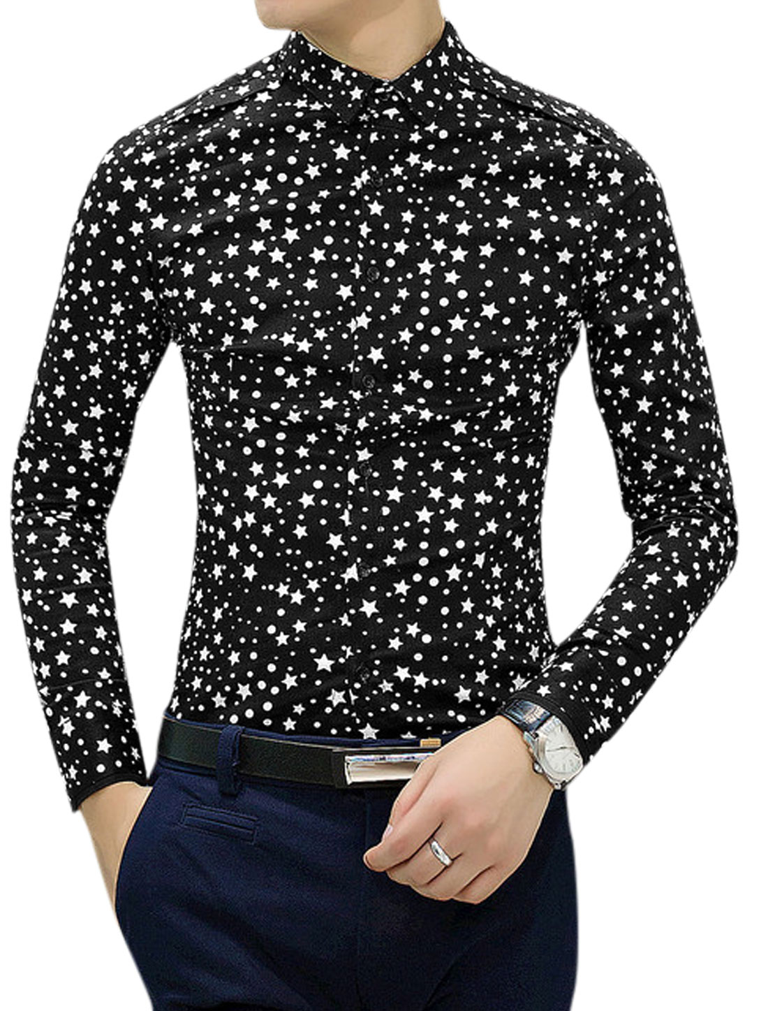Stars Pattern Point Collar Button Cuffs Black Shirt for Men S