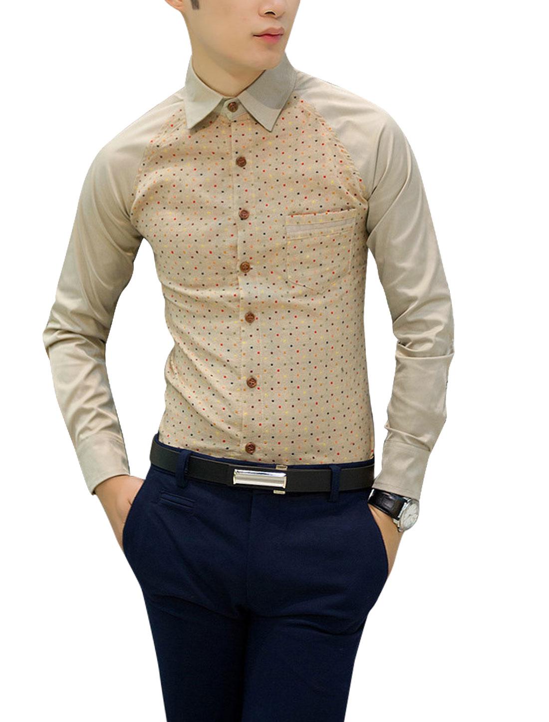 Men Point Collar Long Sleeve Leisure Design Shirts Khaki S