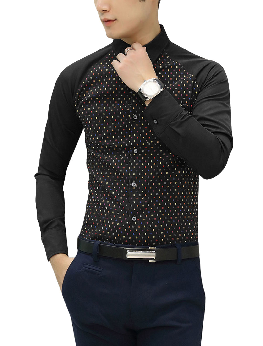Men Point Collar Button Closure Leisure Shirts Black S
