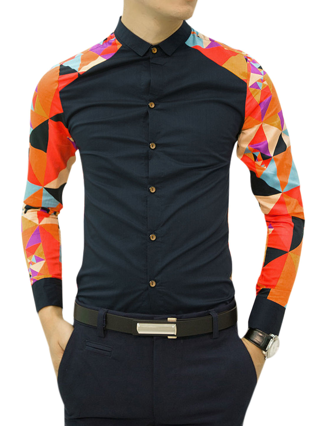 Men Geometrical Pattern Contrast Button Closure Leisure Shirts Navy Blue Orange S