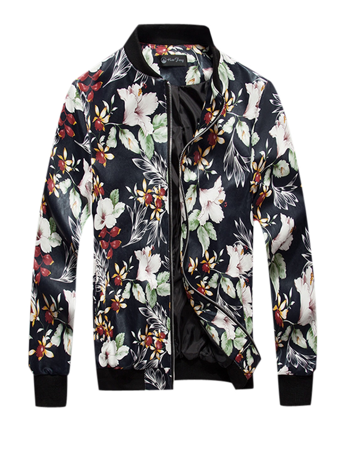Man Multicolor Long Sleeves Stand Collar Zippered Front Floral Prints Jacket M