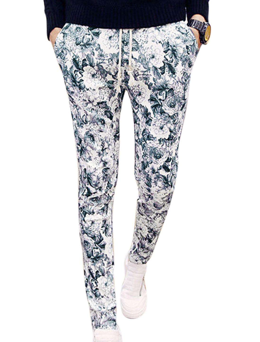Men Floral Prints Drawcord Waist Slant Pockets Casual Pants Beige Black W28