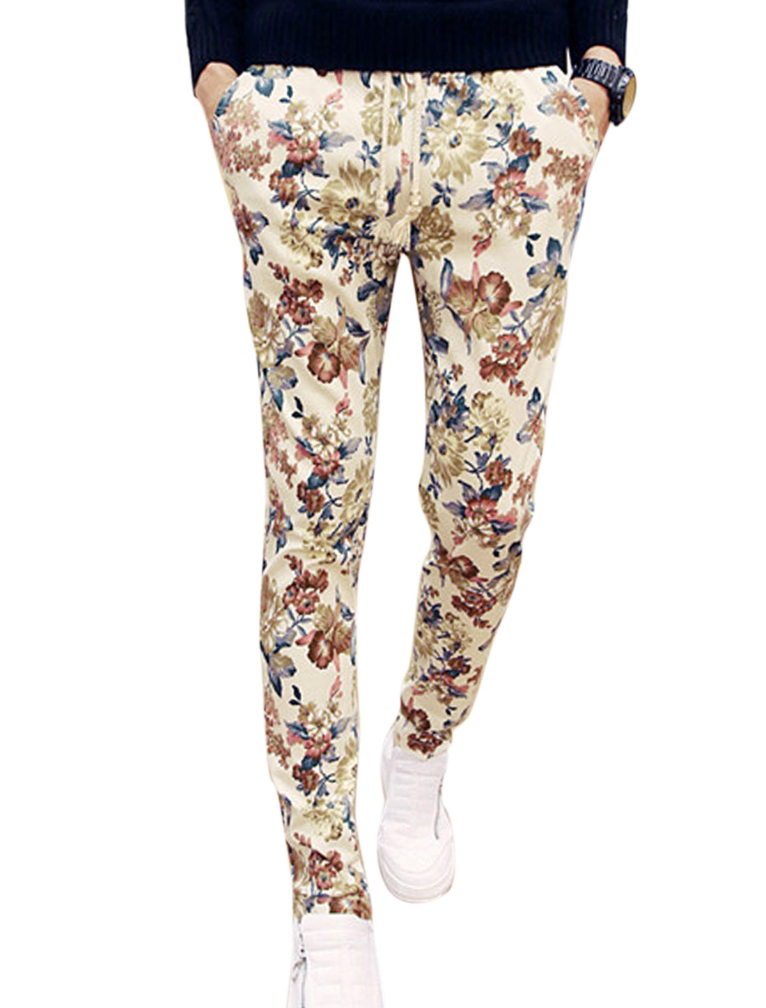Men Drawstring Waist Floral Prints Tapered Slim Fit Casual Pants Beige W28