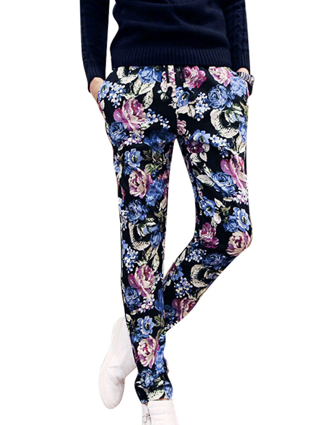 Men Drawstring Waist Floral Prints Slant Pockets Tapered Pants Multicolor W28