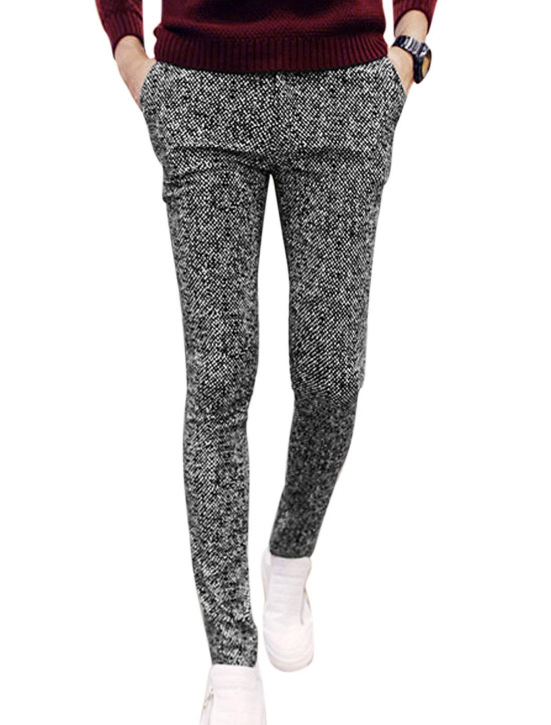 Men Dots Pattern Belt Loop Buttoned Zip Fly Casual Pants Black White W30