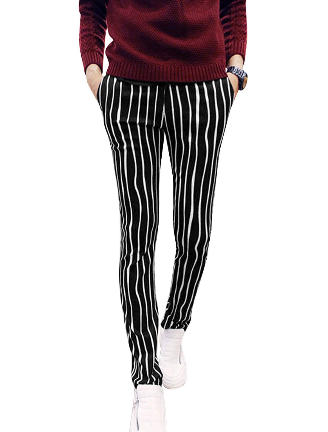Men Stripes Belt Loop Zip Fly Slant Pockets Slim Casual Pants Black White W30