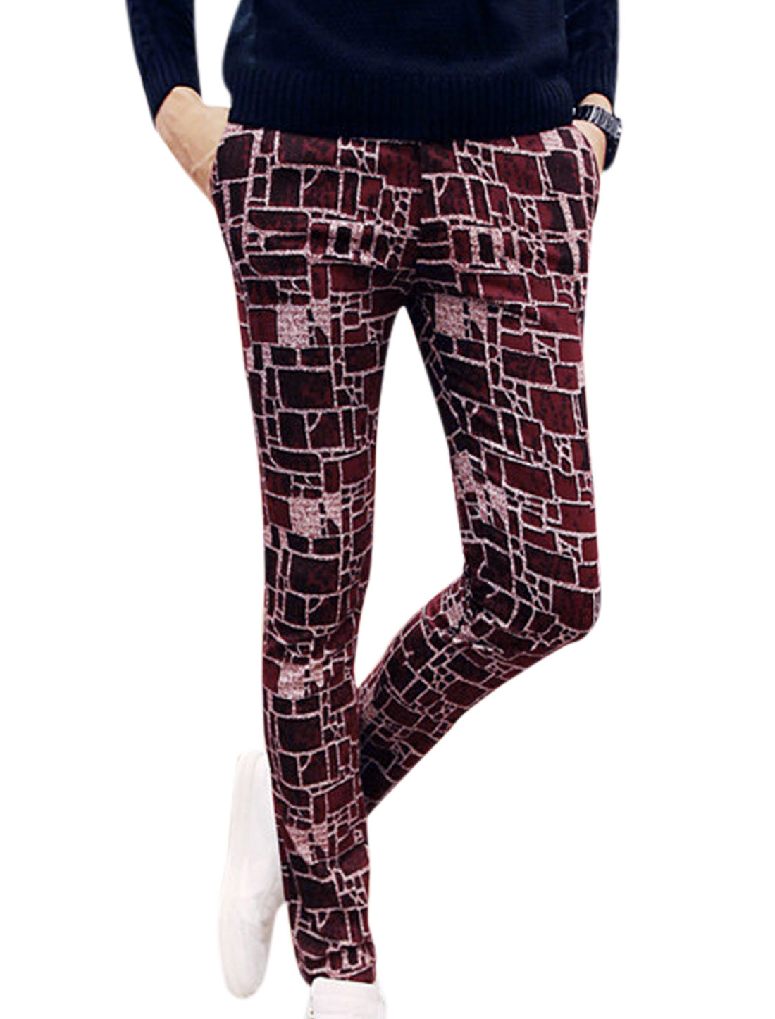 Men Checks Pattern Belt Loop Skinny Casual Pants Burgundy W30