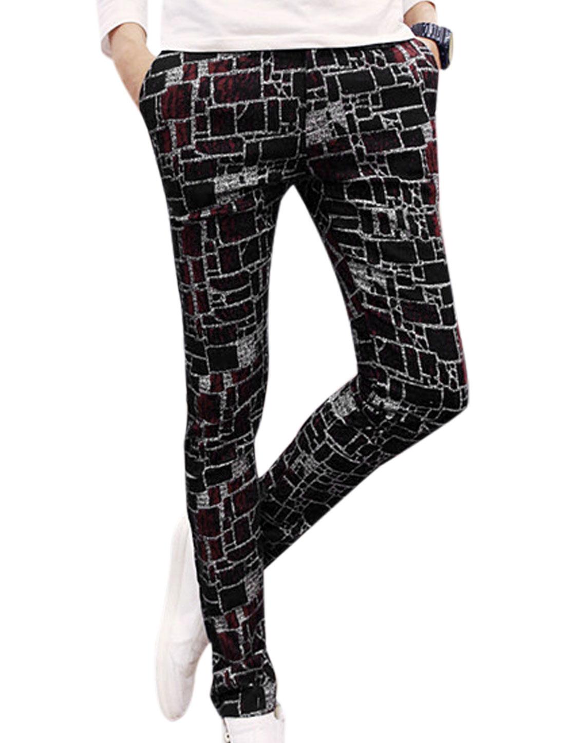 Men Plaids Pattern Belt Loop Zip Fly Casual Pants Black Burgundy W30