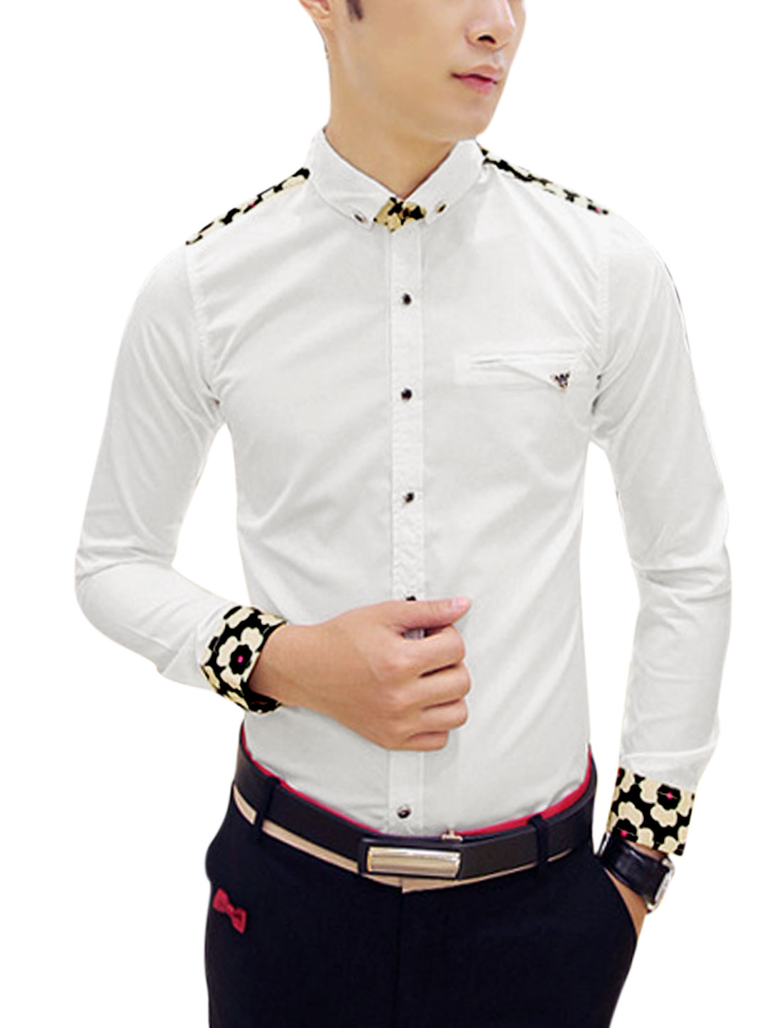 Man White Long Sleeves Point Collar Single Breasted Casual Shirt S