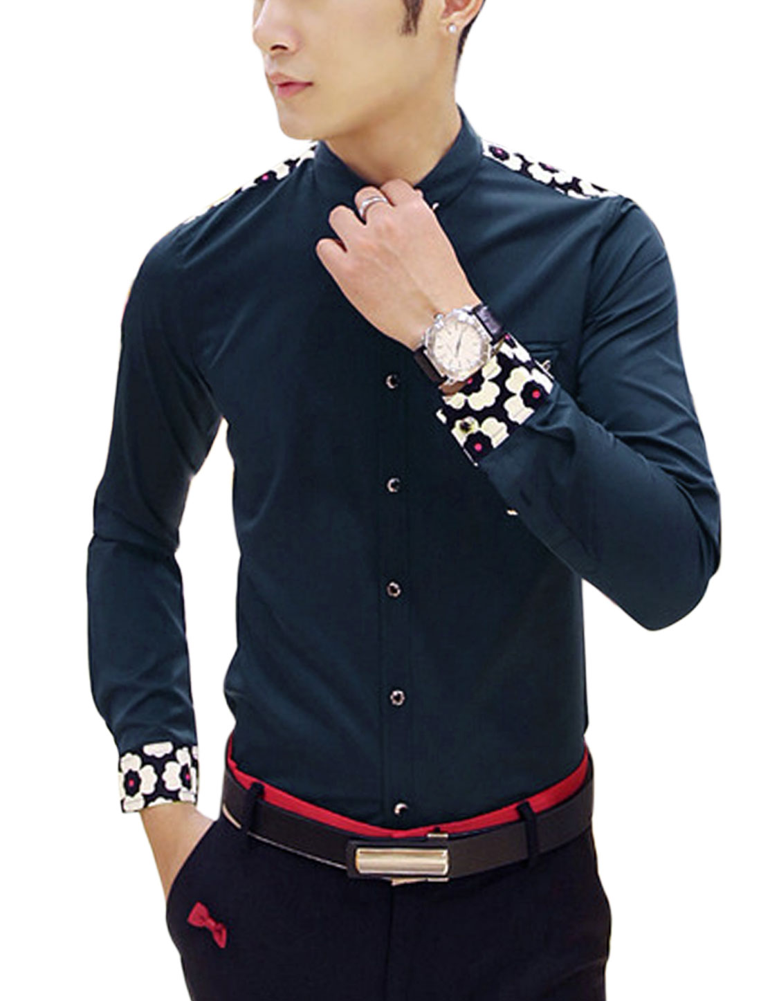Man Navy Blue Full Sleeves Point Collar Button Closure Slim Fit Casual Shirt S