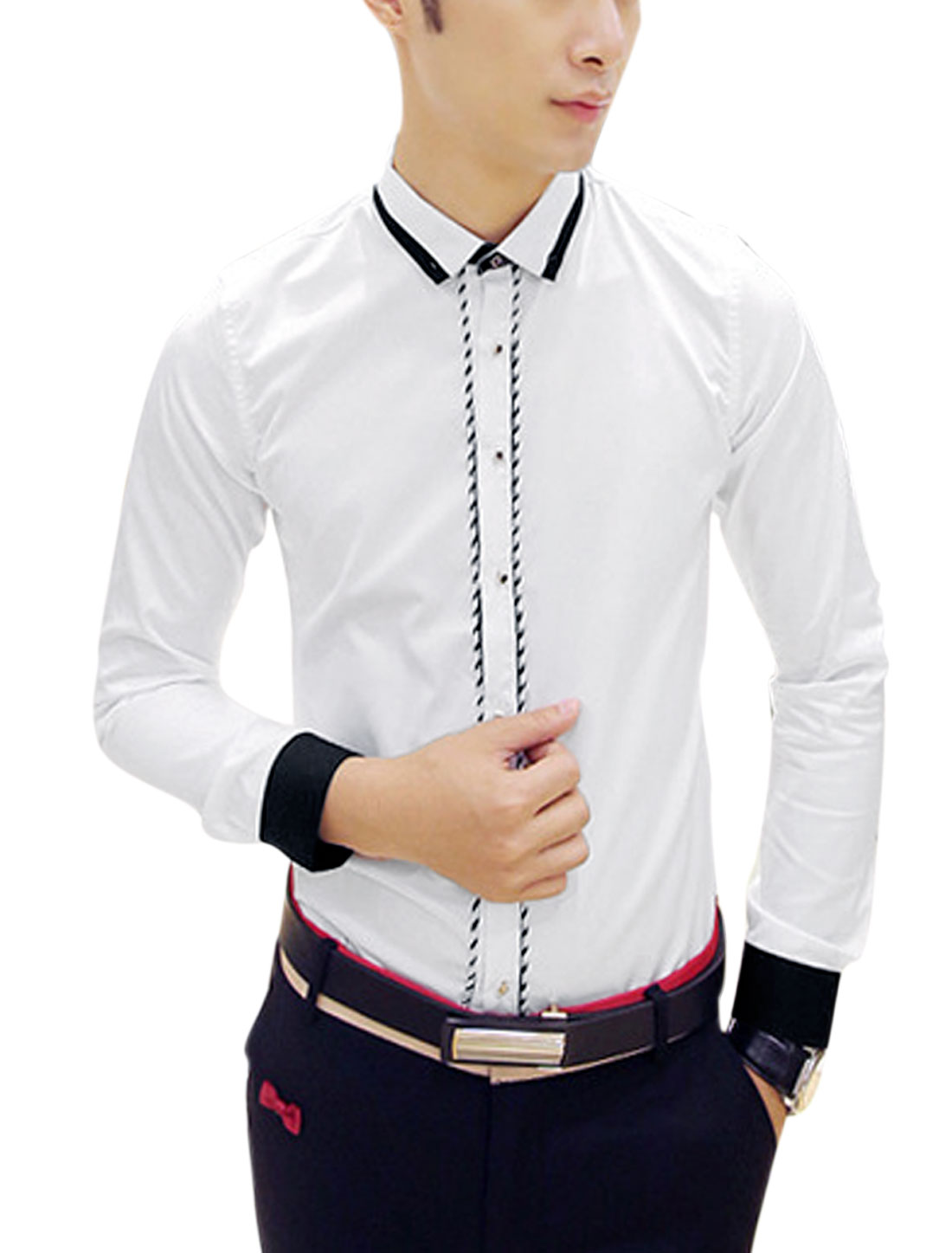 Man White Point Collar Long Sleeves Single Breasted Slim Fit Casual Shirt S