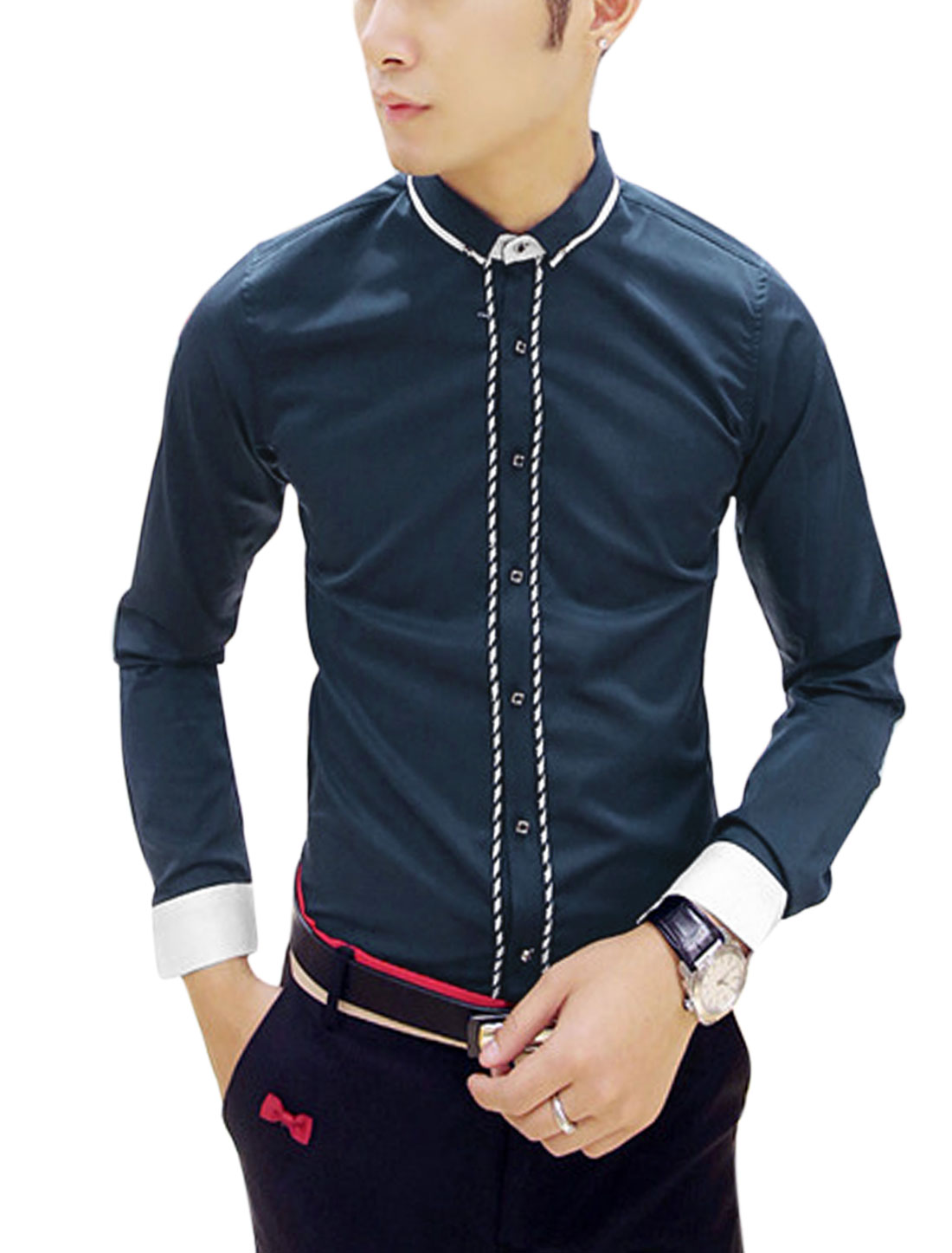 Man Navy Blue Point Collar Contrast Trims Single Breasted Leisure Shirt S