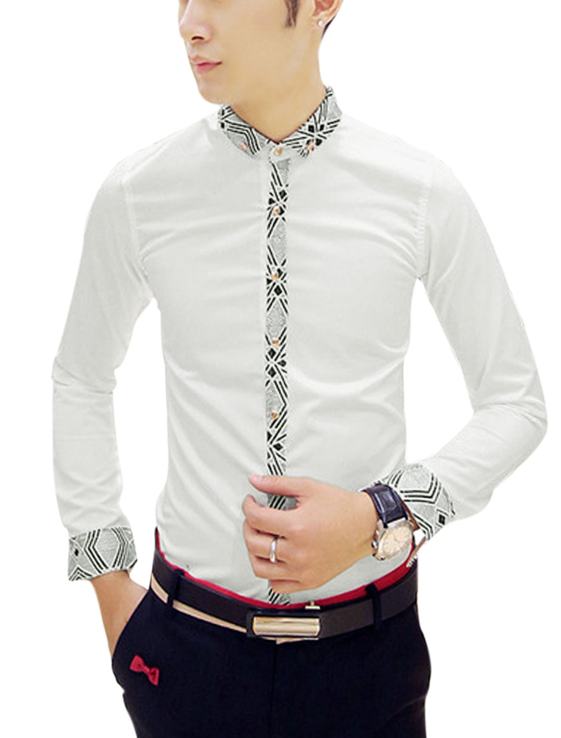 Man White Long Sleeves Point Collar Single Breasted Contrast Trims Casual Shirt S