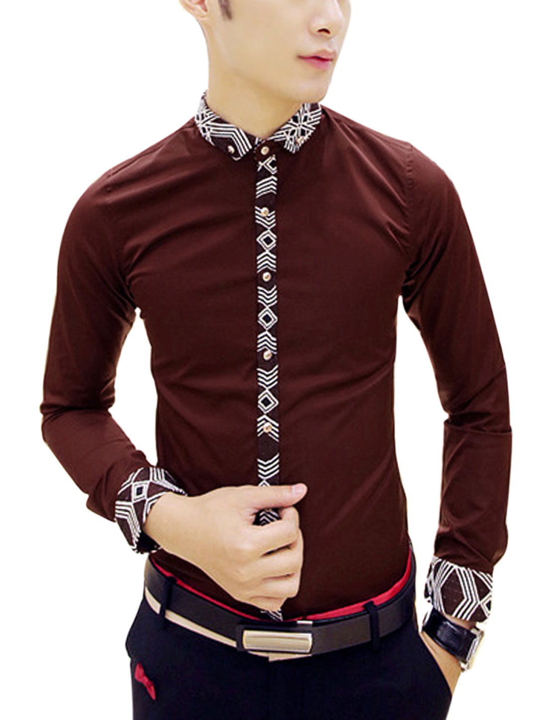 Man Burgundy Full Sleeves Point Collar Button Down Contrast Trims Shirt S