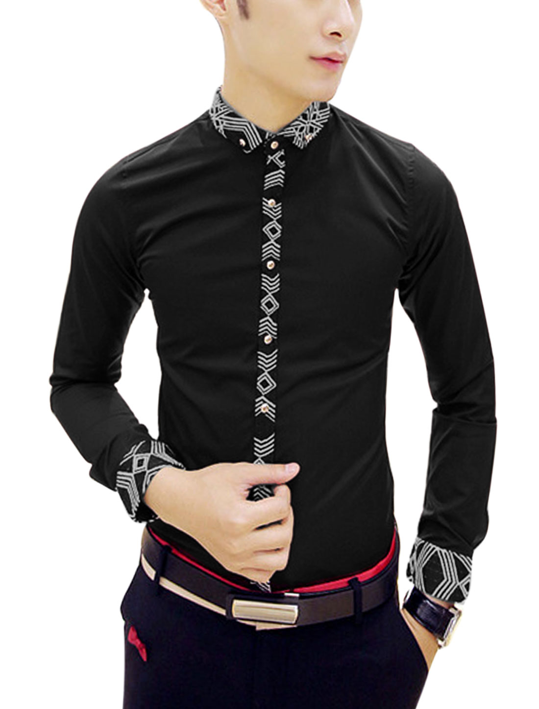Man Black Long Sleeves Point Collar Single Breasted Design Button Shirt S