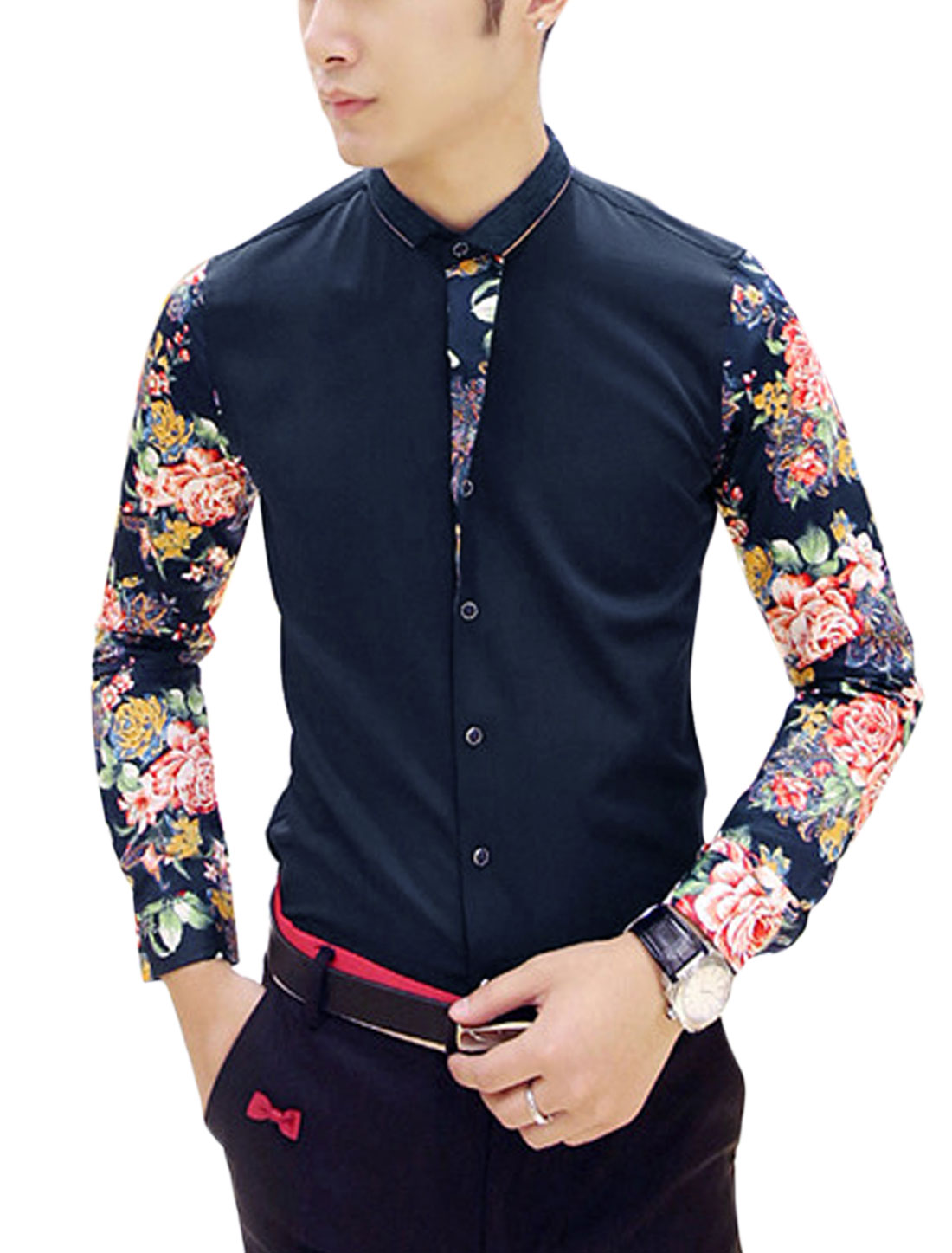 Man Blue Long Sleeves Point Collar Button Closure Contrast Floral Prints Shirt S