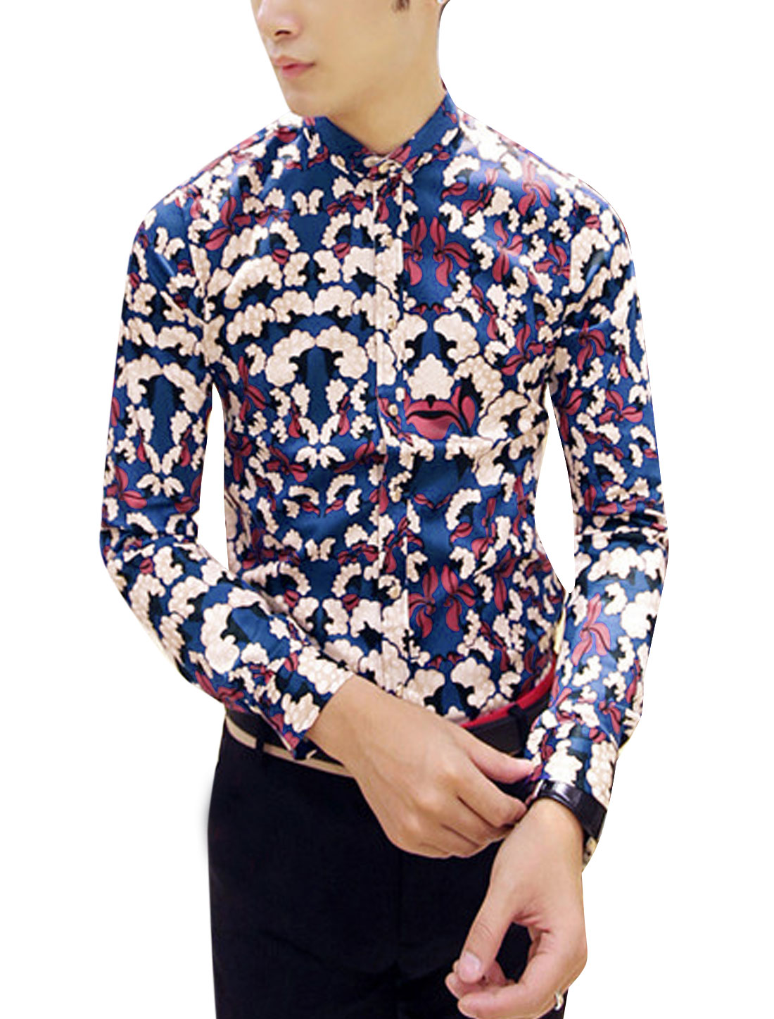 Man Navy Blue Point Collar Long Sleevs Single Breasted Floral Prints Shirt S