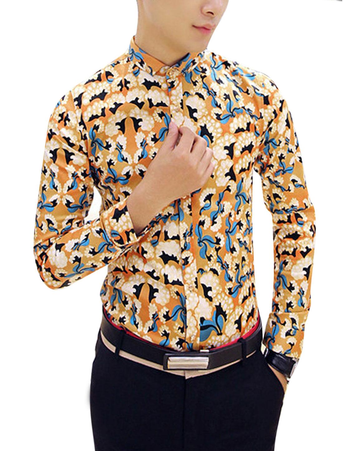 Man Ochre Point Collar Long Sleevs Single Breasted Designed Button Shirt S