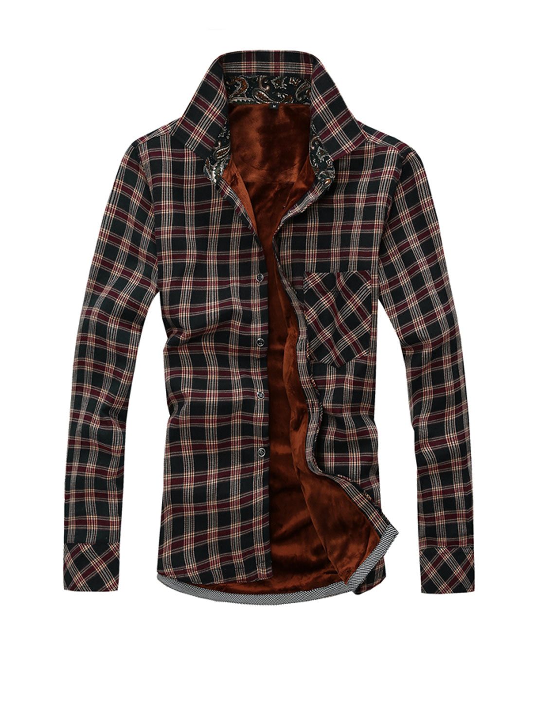 Men Plaids Point Collar Long Sleeve Trendy Shirt Black M