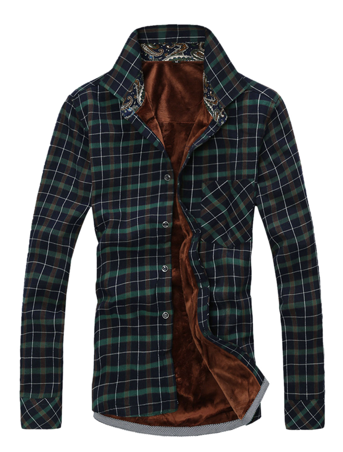 Men Plaid Pattern Long Sleeve Point Collar Casual Trendy Shirt Green M