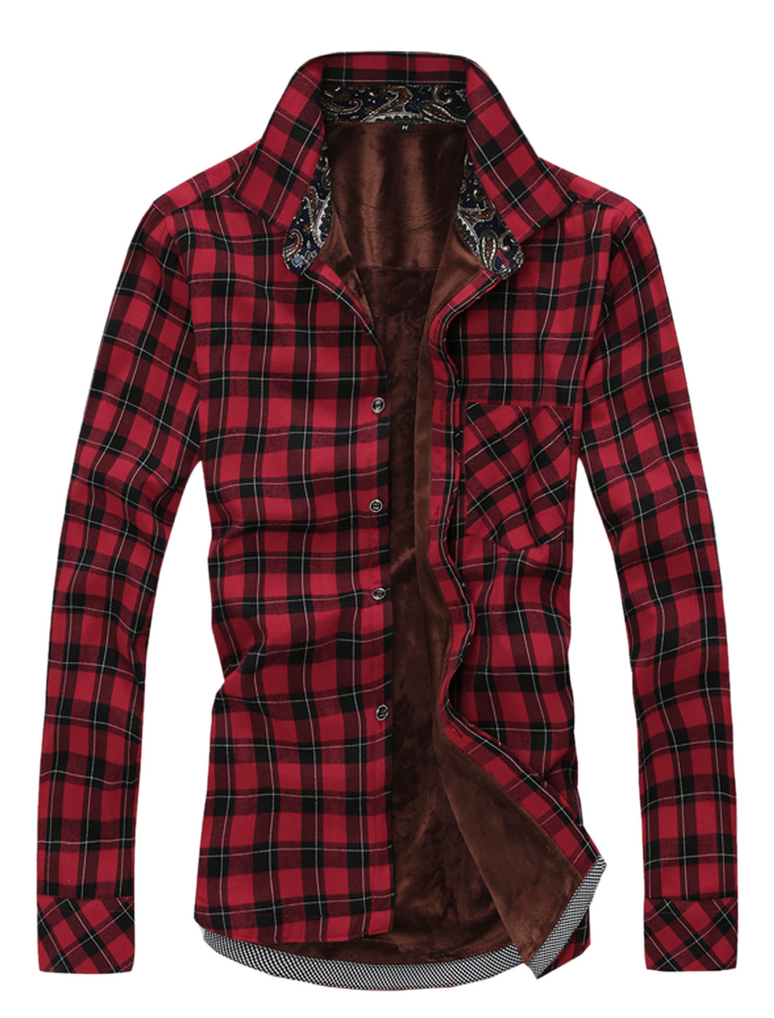 Men Point Collar Plaids Single Chest Pocket Trendy Shirt Red M