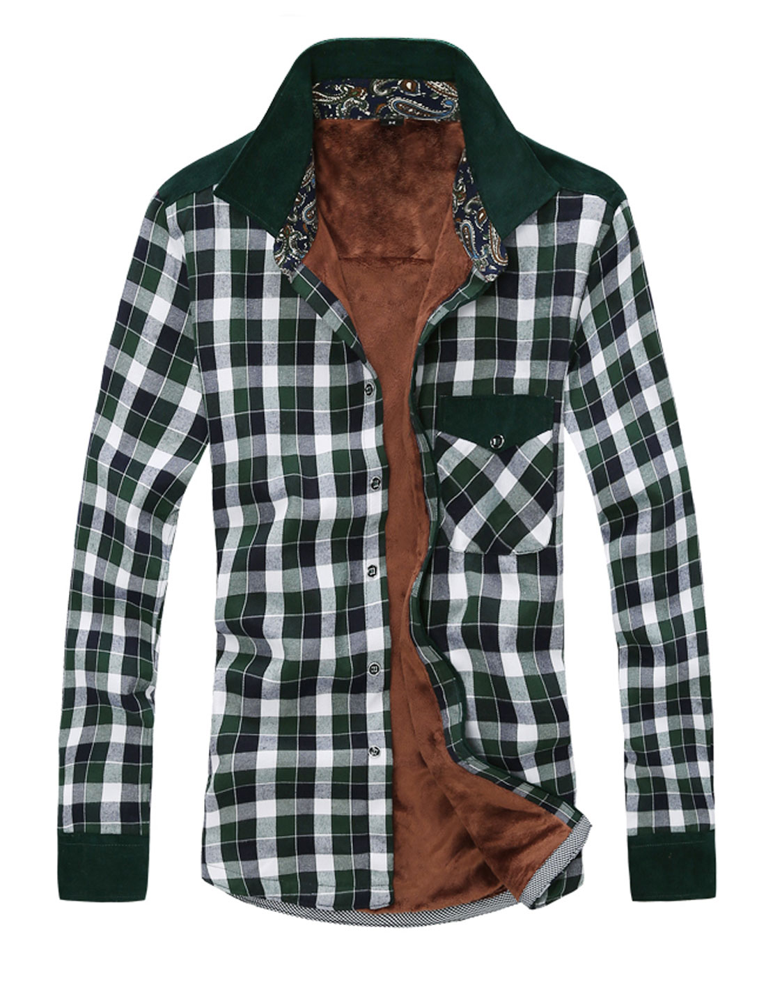 New Style Plaids Pattern Single Breasted Leisure Shirt for Men Green M
