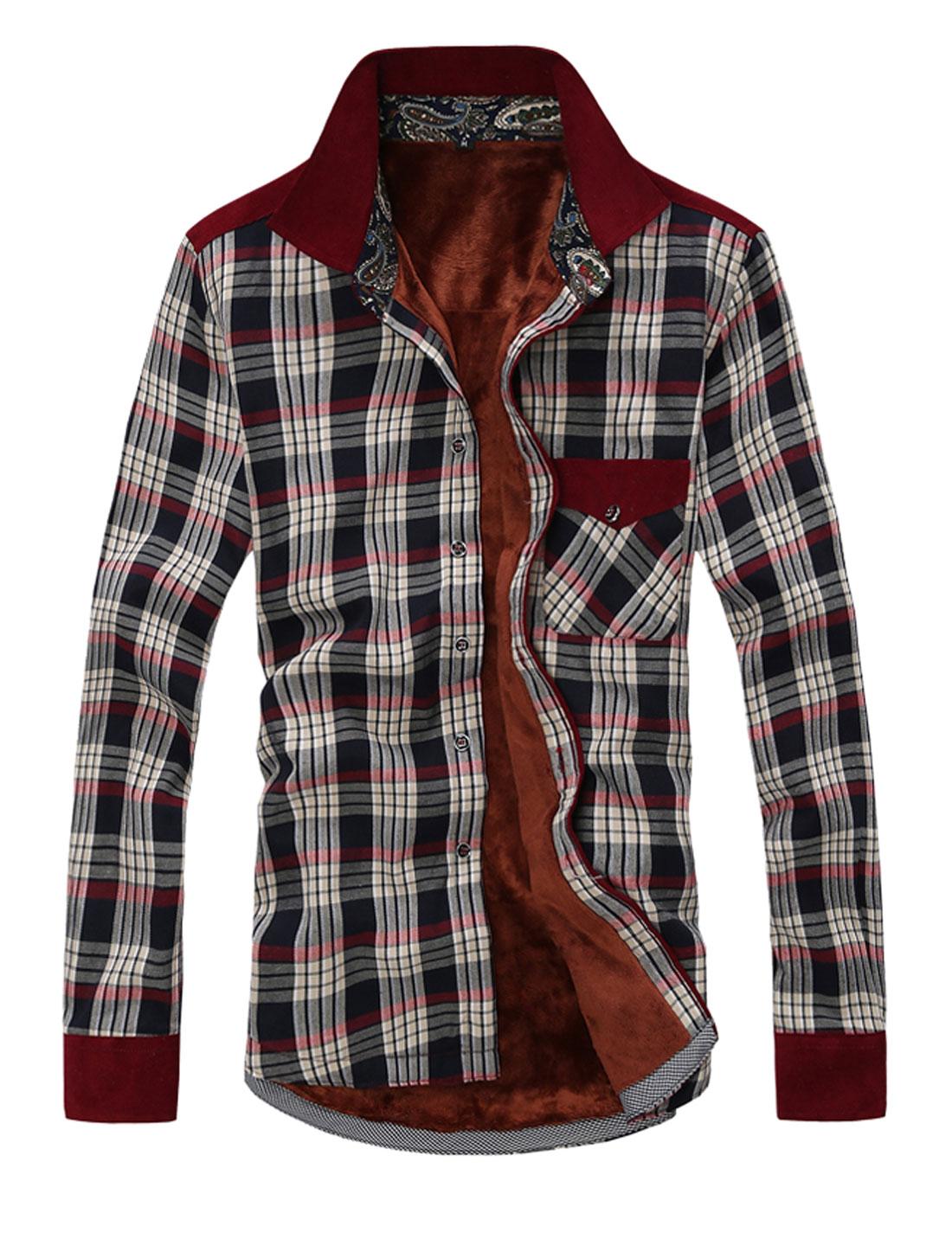 Men One Pocket Chest Fleece Lining Leisure Shirt Burgundy M