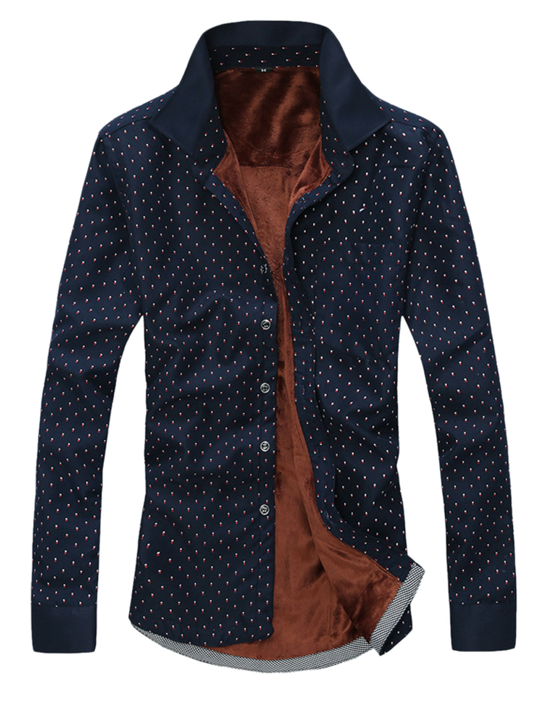 Men Dots Pattern Single Breasted Chest Pocket Velvet Lining Shirt Navy Blue M