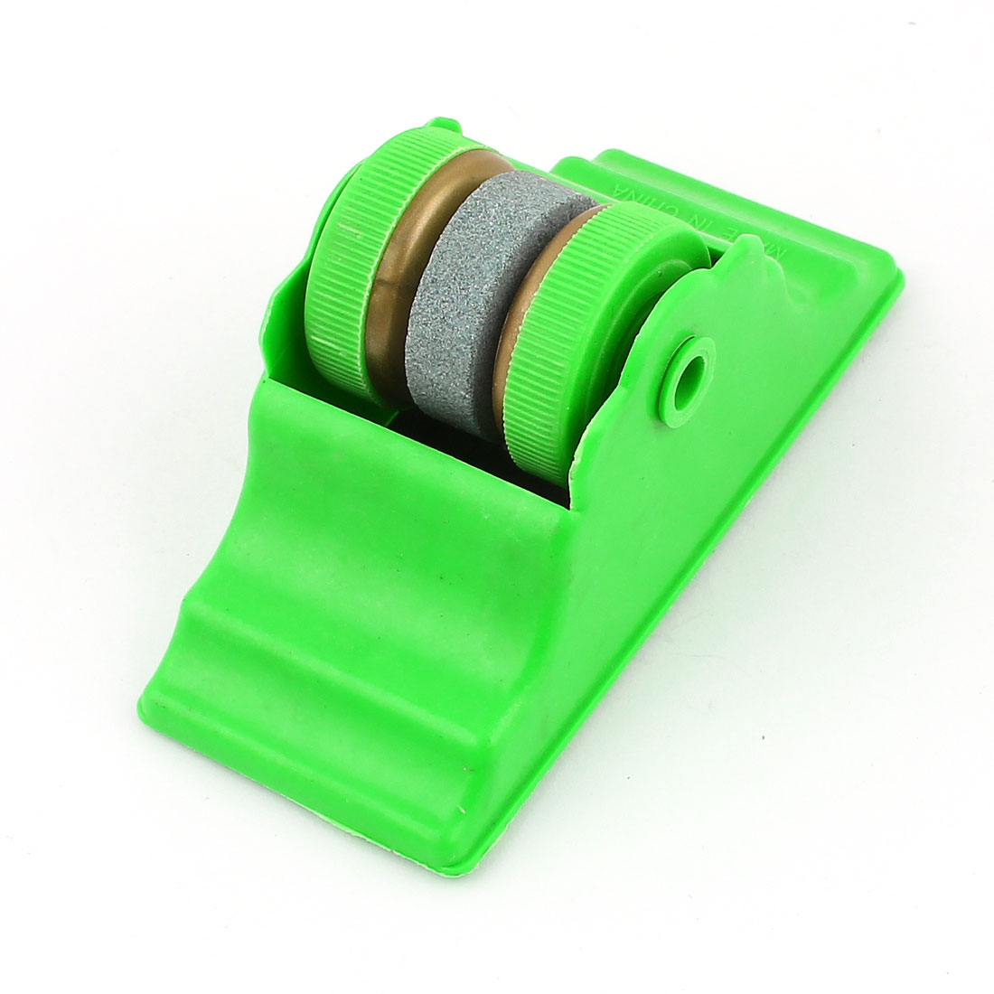 Green Plastic Shell Round Grit Lapped Sharpening Whetstone Home Tool