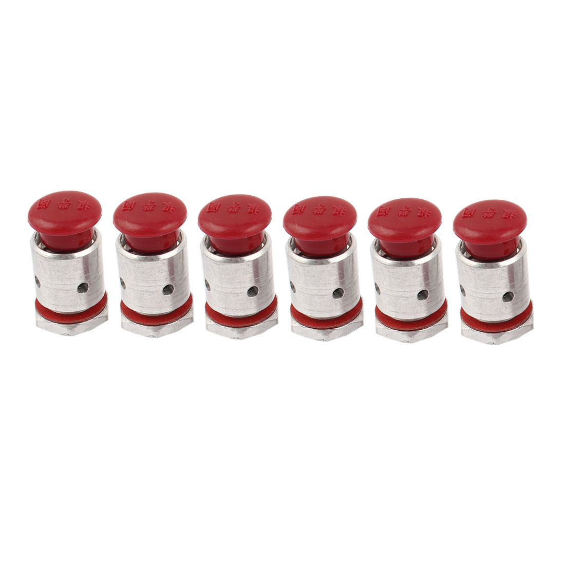 9mm Threaded Dia Pressure Cooker Top Pot Safety Valve Red Silver Tone 6 Pcs