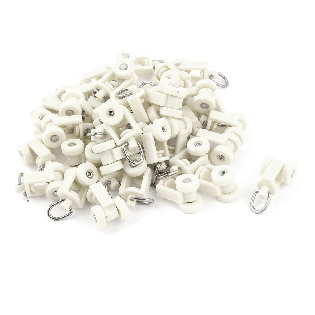 White Plastic Curtain Track Rail Rollers 12mm Diameter Wheel 40 Pcs