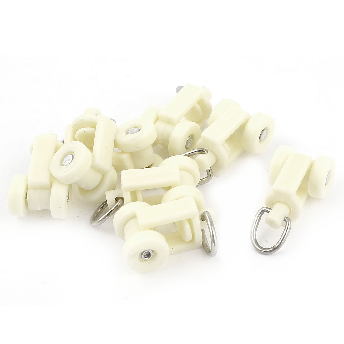 White Plastic Curtain Track Rail Rollers 12mm Diameter Wheel 8 Pcs