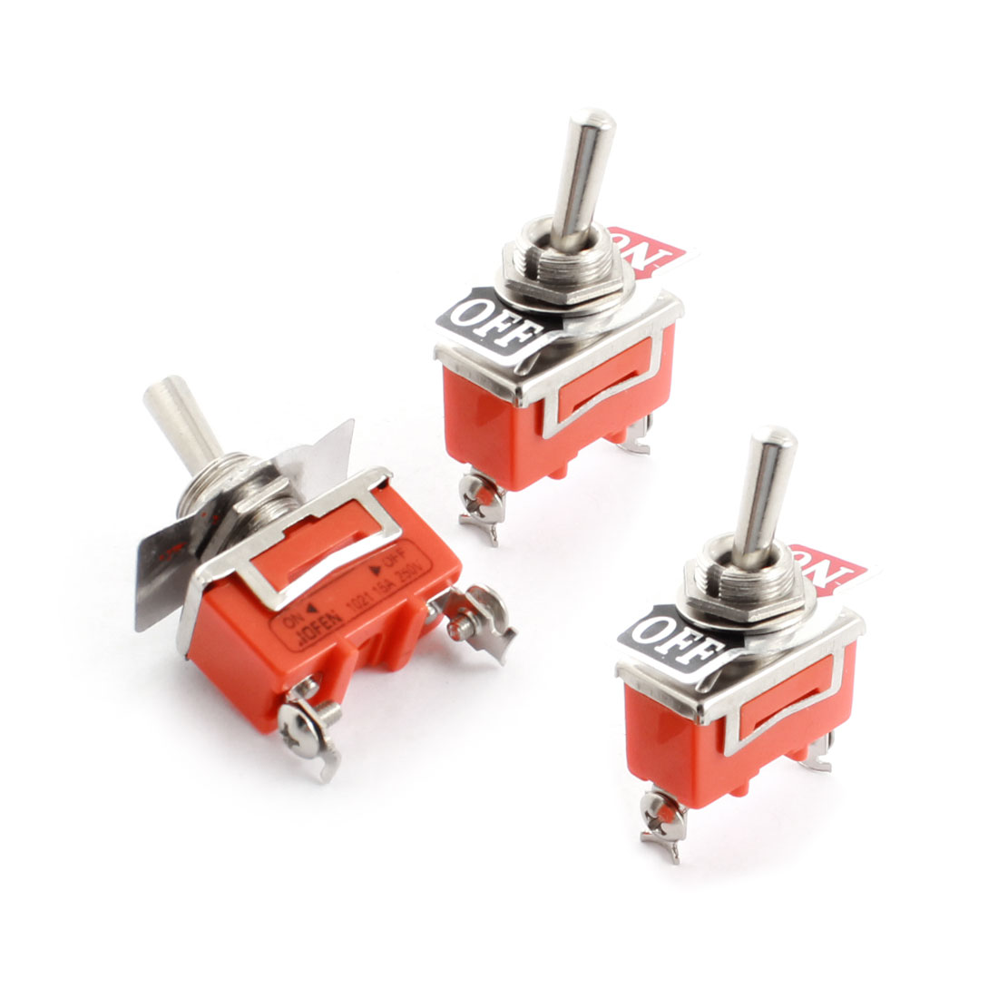 3Pcs AC250V 15A 12mm Thread Panel Mount SPST 4 Screw Terminals 2 Positions ON/OFF Orange Toggle Switch