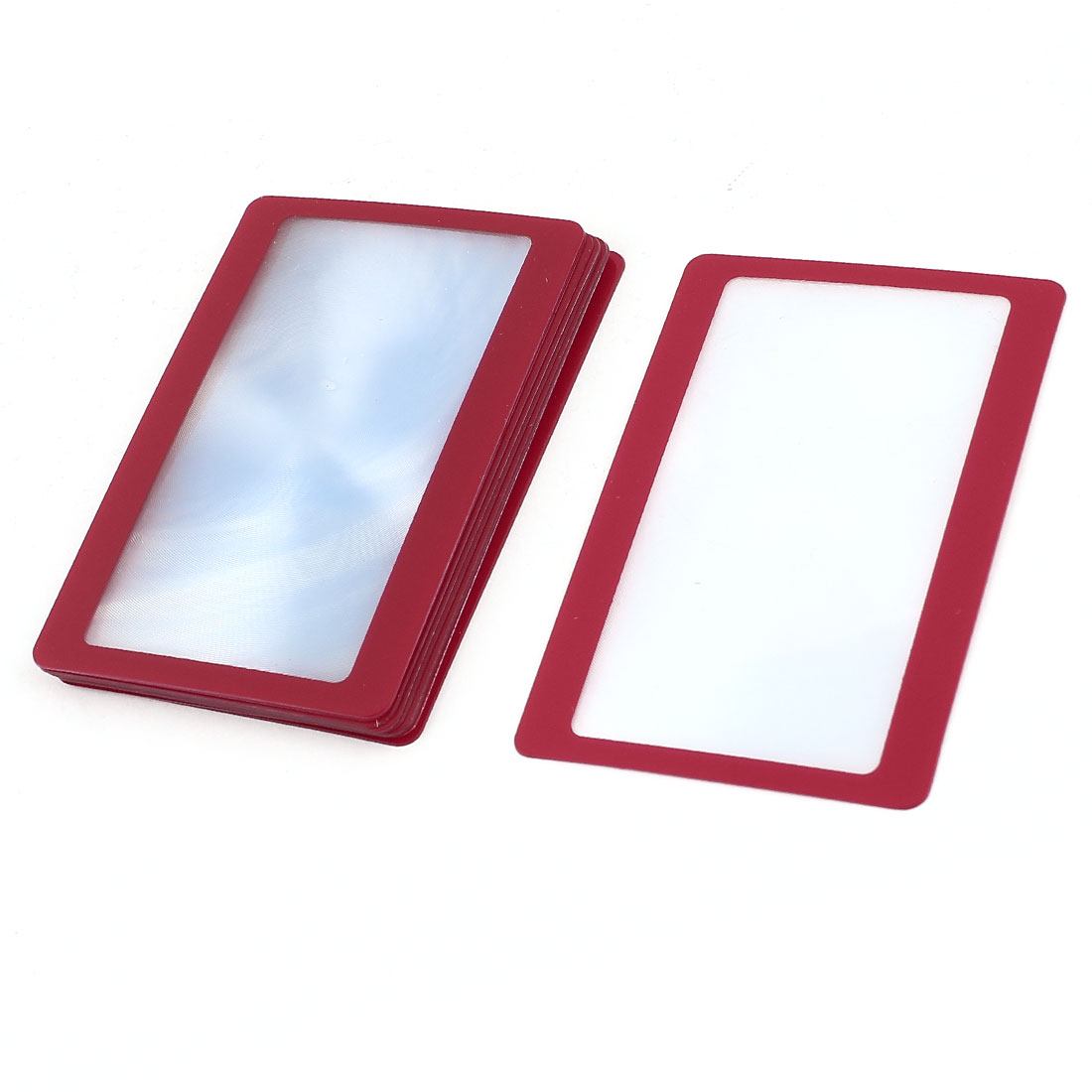 10 Pcs Red Frame Credit Card Reading Magnifier 3x Magnifying Wallet Loupe Lens