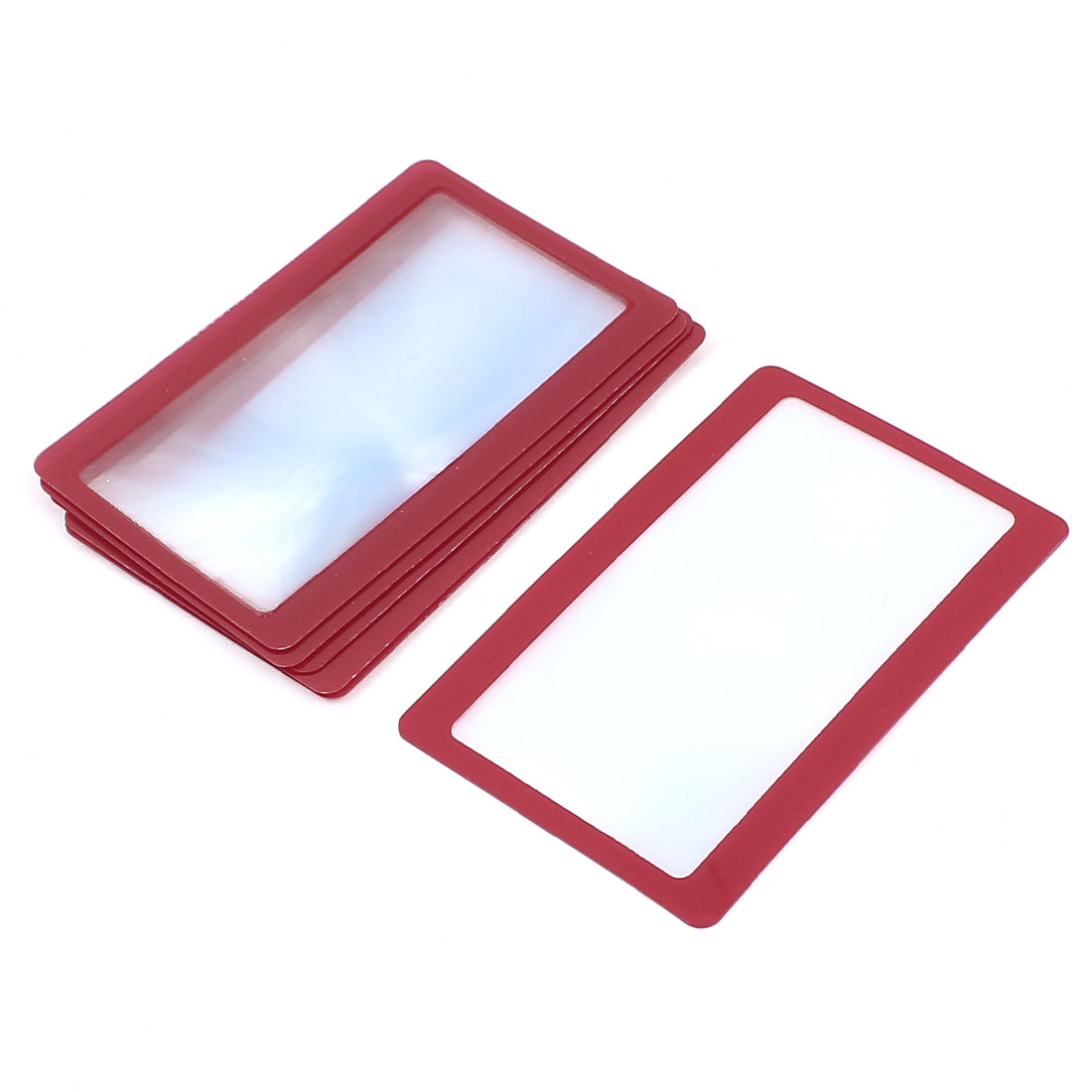 6 Pcs Red Frame Credit Card Reading Magnifier 3x Magnifying Wallet Loupe Lens