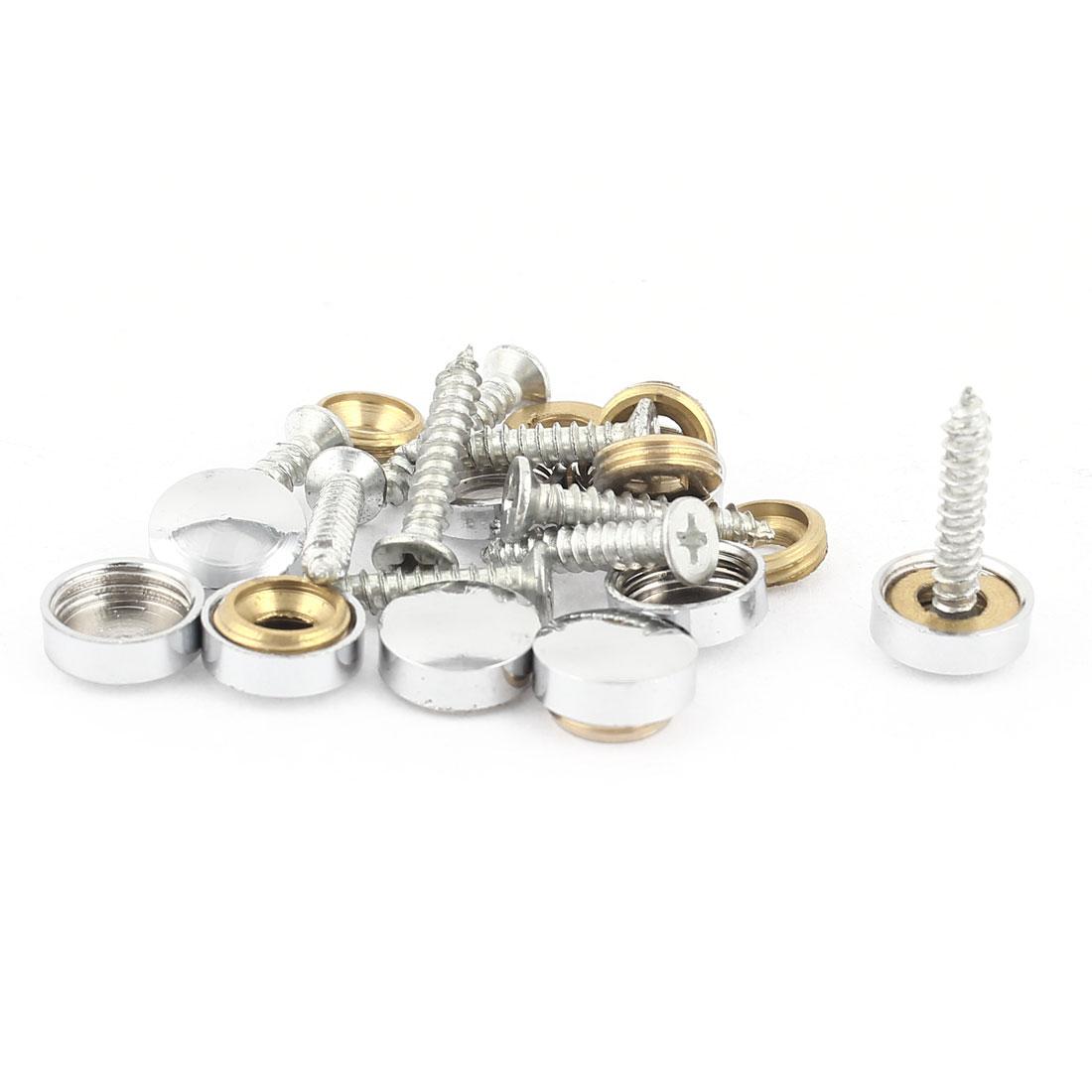 9 Pcs Silver Tone Decorative Fittings 12mm Screw Caps Tea Table Mirror Nails