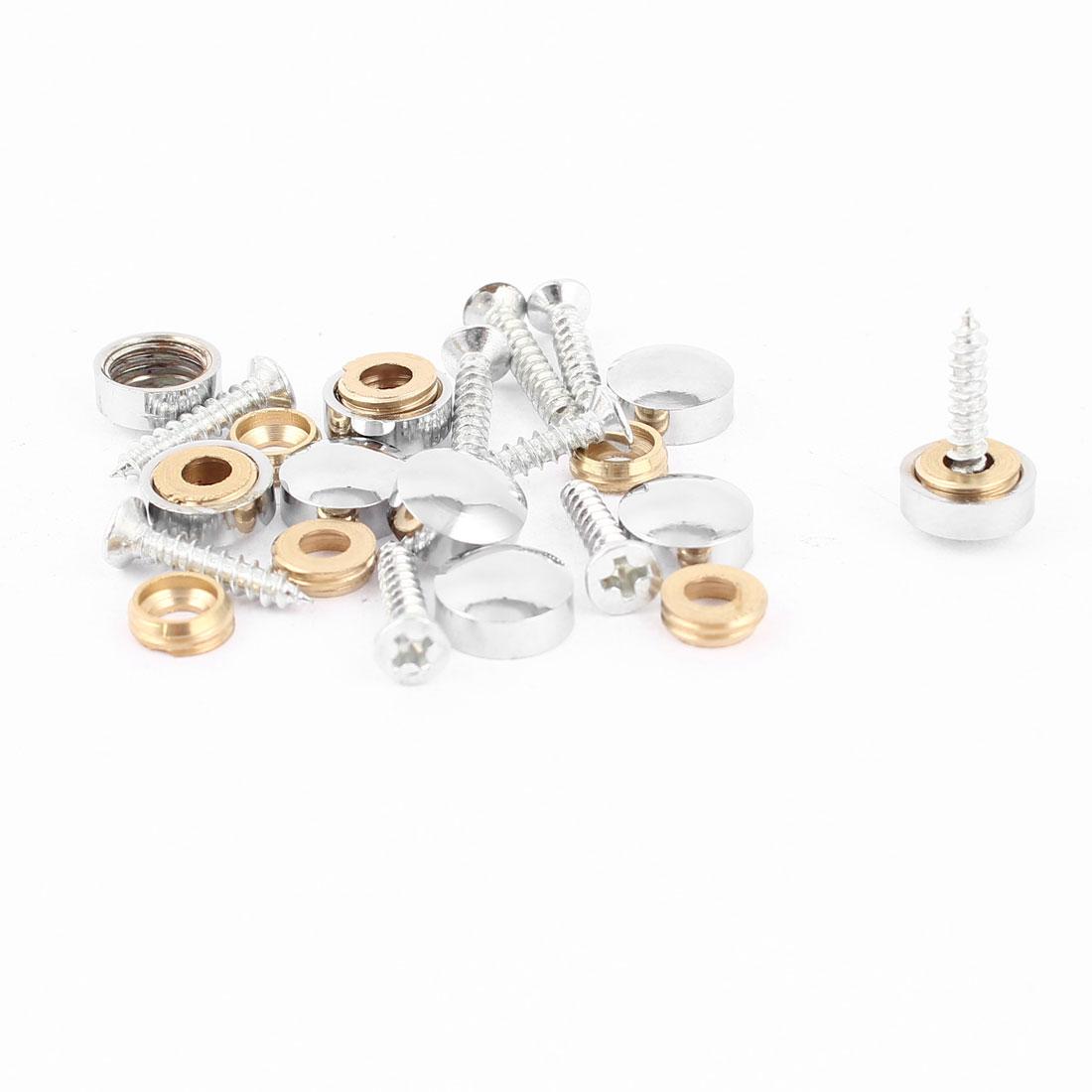 9 Pcs Fitting Parts Metal 10mm Diameter Screw Cap Mirror Nails Decoration Lid