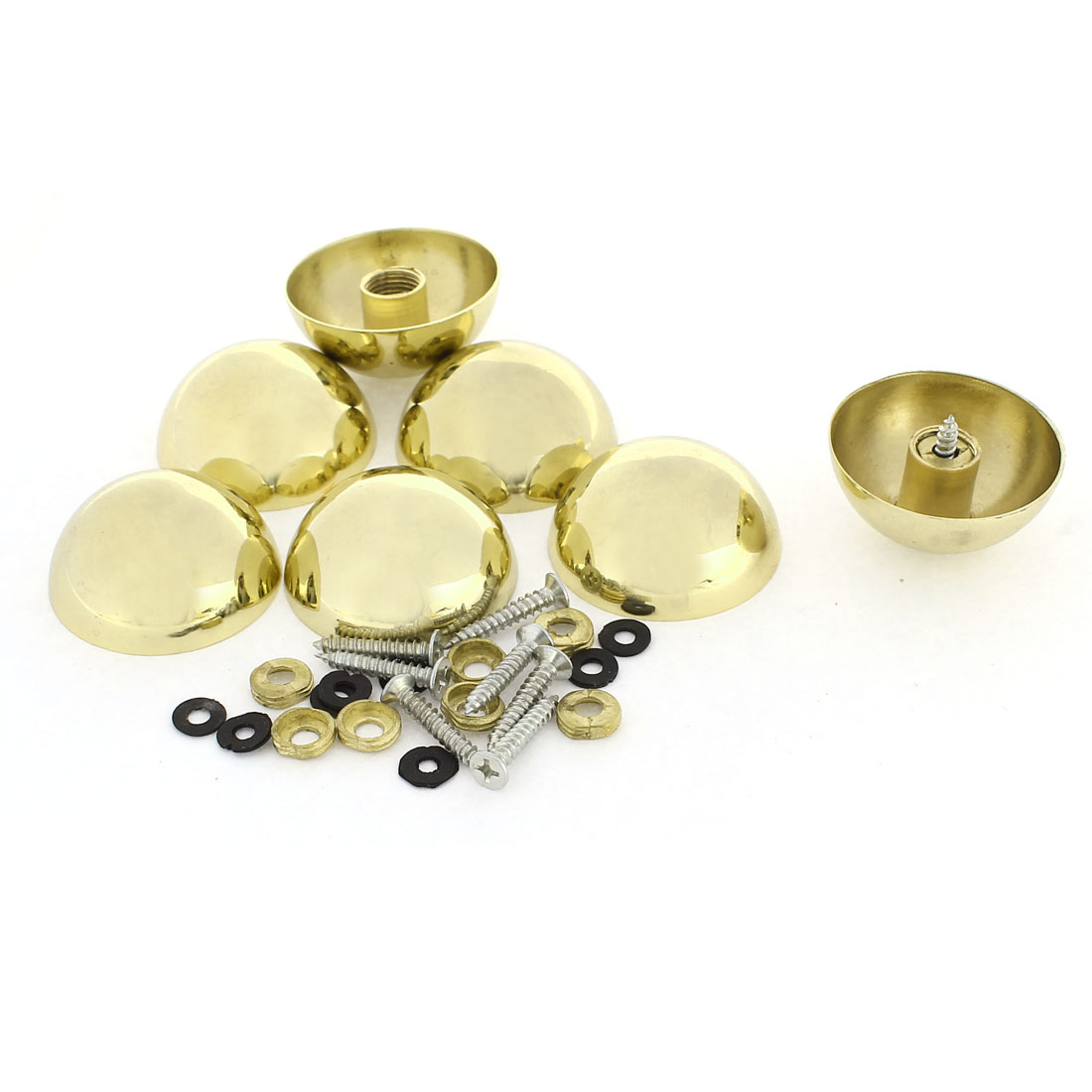 8 Pcs 37mm Dia 16mm Height Zinc Alloy Dome Mirror Screw Cap Fittings Gold Tone