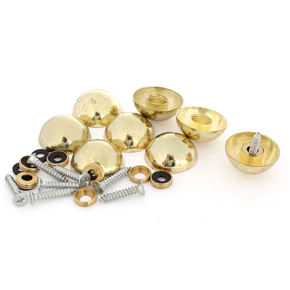 8 Pcs 23mm Dia 10mm Height Zinc Alloy Mirror Screw Cap Nail Fittings Gold Tone