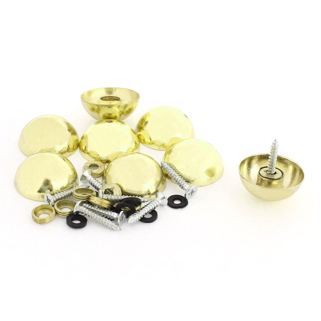 8 Pcs 27mm Dia 16mm Height Zinc Alloy Dome Screw Mirror Fittings Cap Gold Tone