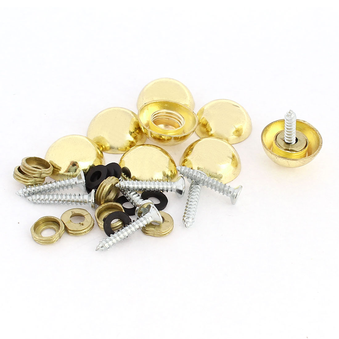 8 Pcs 18mm Dia 10mm Height Zinc Alloy Dome Mirror Screw Cap Fittings Gold Tone