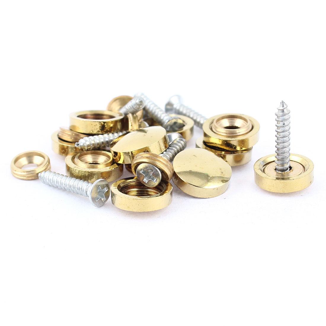 10 Pcs Fitting Parts Brass Tone 14mm Diameter Screw Cap Mirror Nails Decoration Lid
