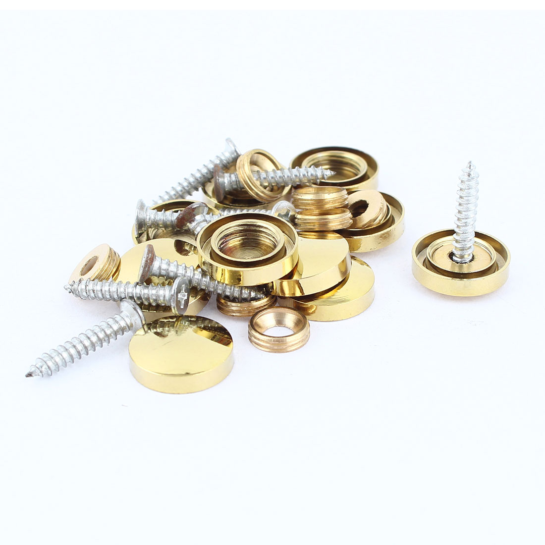 10Pcs Fitting Parts Brass Tone 16mm Diameter Screw Cap Mirror Nails Decoration Lid