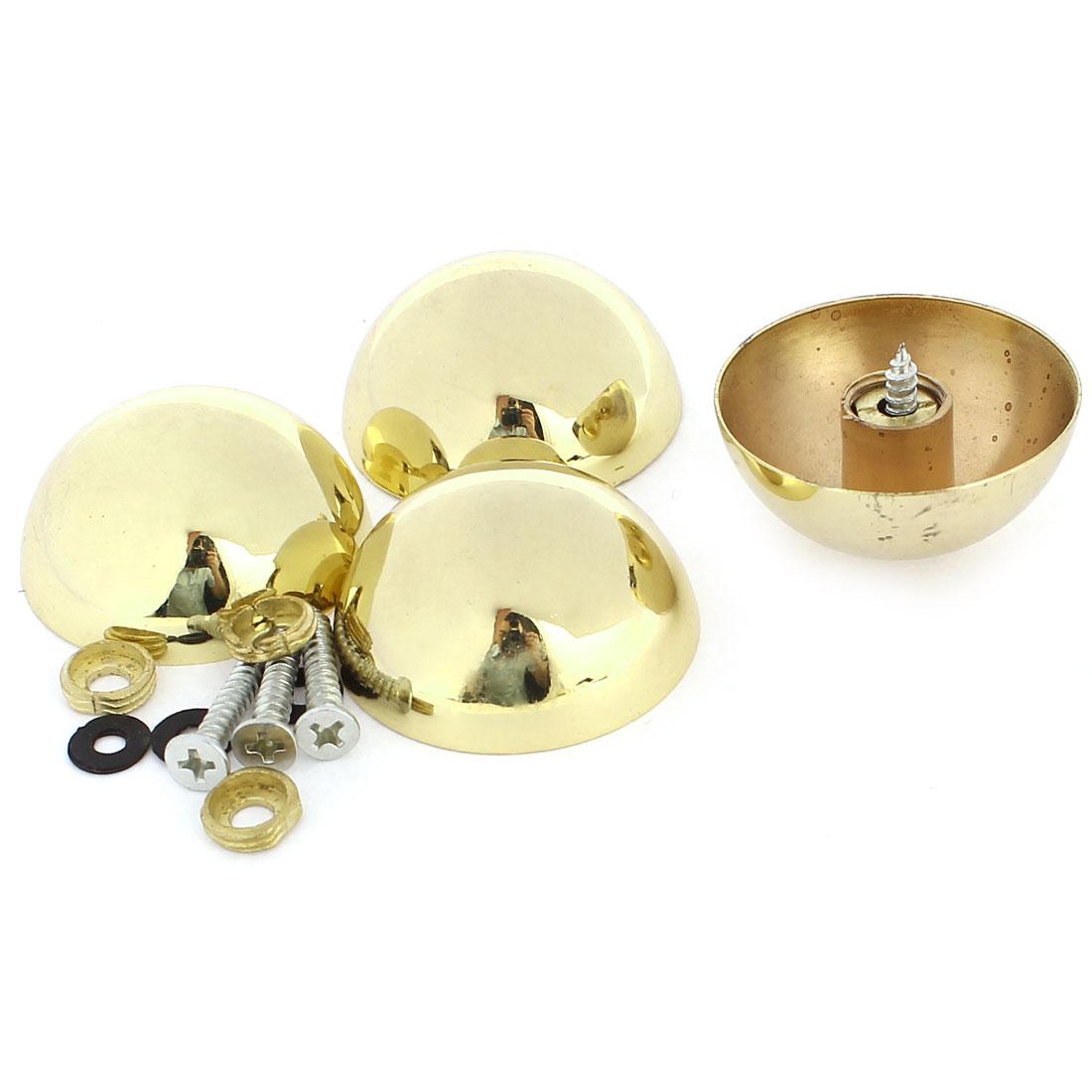 4 Pcs 37mm Dia 16mm Height Zinc Alloy Glass Mirror Screw Cap Gold Tone