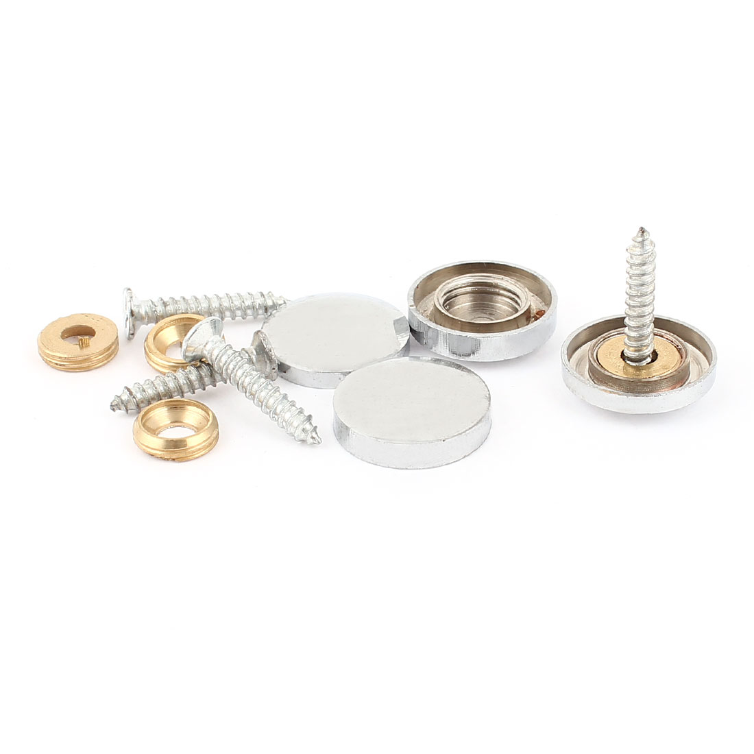4 Pcs Silver Tone Decorative Fittings 18mm Screw Caps Tea Table Mirror Nails