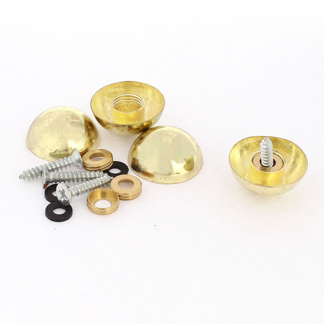 4 Pcs 23mm Dia 10mm Height Zinc Alloy Dome Glass Mirror Screw Caps Gold Tone